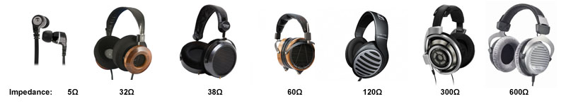 Range of headphones